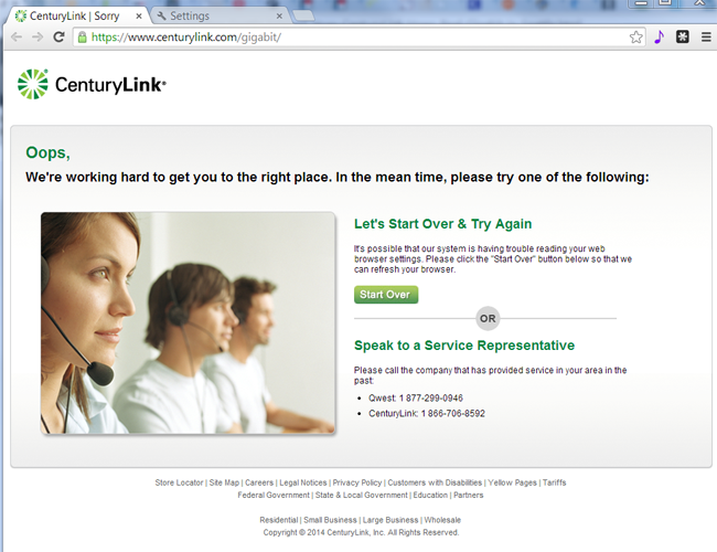 CenturyLink screenshot