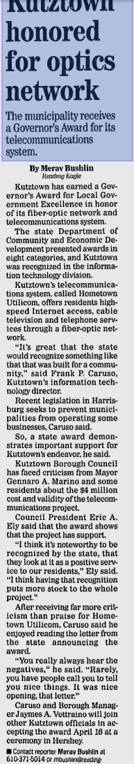 Kutztown award news article