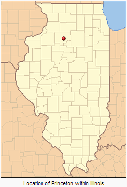 Map of Illinois showing Princeton